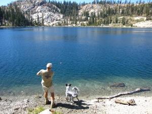skipping rocks at Deer Lake